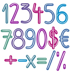 colorful brush numbers vector image vector image