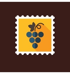 Grapes flat stamp with long shadow vector image vector image