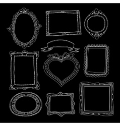 Set of chalk painted doodle frames on a black vector image