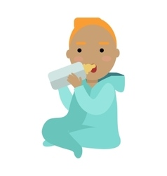 Adorable child drinking from bottle isolated vector
