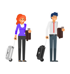 business trip characters vector image vector image