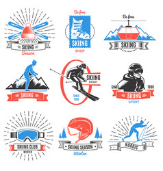 colored skiing vintage labels set vector image
