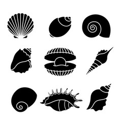 Sea shells silhouettes isolated on white vector