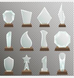 set of glass transparent trophy awards vector image