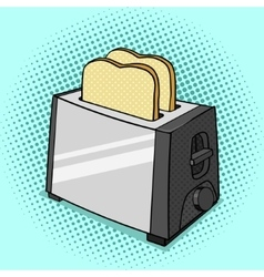 Toaster with toasts pop art style vector image vector image