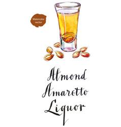 wineglass of almond liquor amaretto vector image