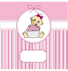 baby girl with a cake vector image vector image