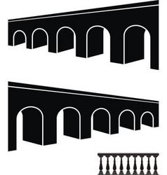 bridge black silhouettes vector image vector image