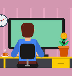 man at working place with big monitor vector image