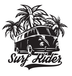 monochrome on theme of surfing vector image vector image