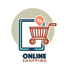online shopping web icon template tablet vector image
