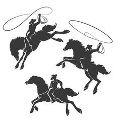 Rodeo cowboy emblem set vector