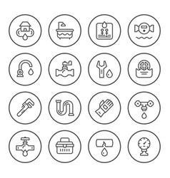 Set round line icons of plumbing vector
