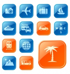 travel icons buttons vector image vector image