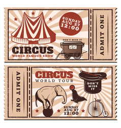vintage circus show advertising horizontal tickets vector image vector image