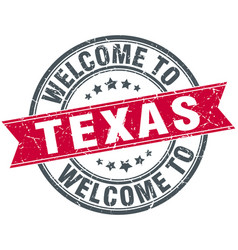 welcome to texas red round vintage stamp vector image vector image