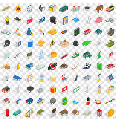 100 wealth icons set isometric 3d style vector image