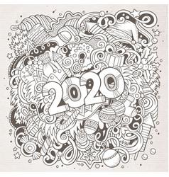 2020 hand drawn doodles contour line vector image