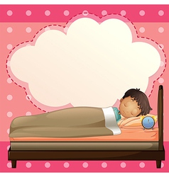 A boy sleeping with an empty callout template vector image