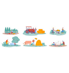 Agriculture worker farm life scenes vector