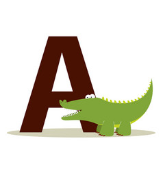 alligator alphabet a vector image