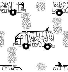 Aloha hawaii seamless pattern surf bus and vector