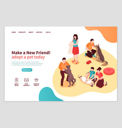 Animal shelter isometric web page vector