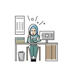 arabic businesswoman talking on phone vector image