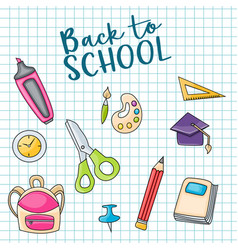 back to school doodle clip art greeting card vector image