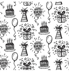 Birthday party seamless patterns with doodles vector