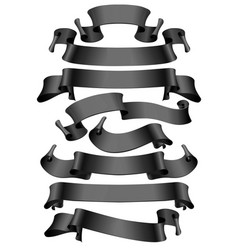Black glossy ribbons on a white background vector
