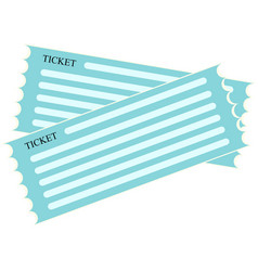 blue flat icon for ticket vector image