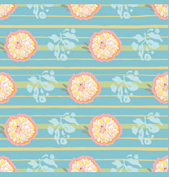 Blue pattern with flower and stripe vector
