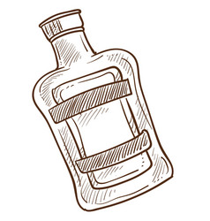 bottle with emblem and liquid inside monochrome vector image
