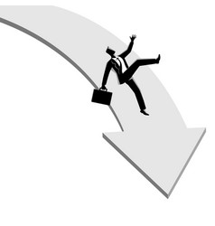 businessman falling down from arrow graphic vector image
