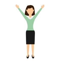businesswoman with hands up isolated icon design vector image