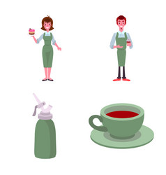 Cafe and house icon set of vector