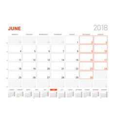 Calendar template for 2018 year june business vector