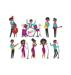 cartoon jazz artists characters singing and vector image