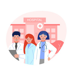 cheerful doctors standing in front hospital vector image