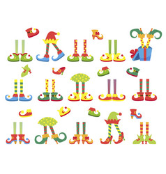 christmas elf feet and legs set decoration for vector image