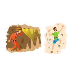 Climbing and speleology extreme tourism vector