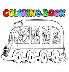 coloring book with school bus vector image
