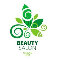 Composition green leaf logo for beauty salon vector