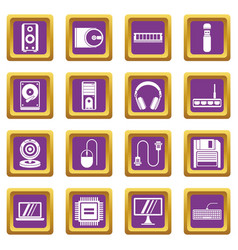 Computer icons set purple vector