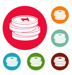 concept coin icons circle set vector image vector image