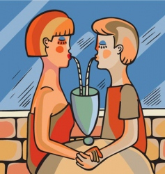 couple drinking vector image
