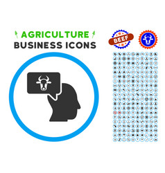 cow thinking person rounded icon with set vector image