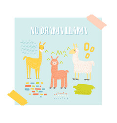 Cute llama design for poster invitation vector