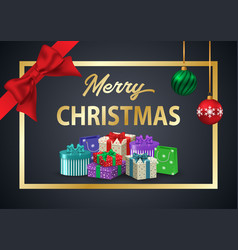 decorative poster merry christmas the inscription vector image